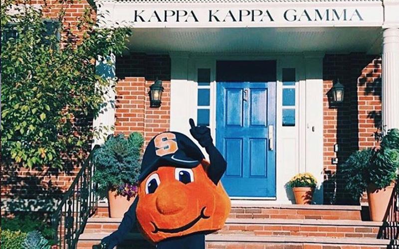 Kappa Kappa Gamma Building Exterior with Otto The Orange