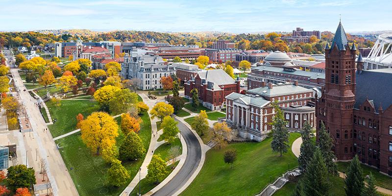 Aerial view of Syracuse University campus. Skyline of buildings.